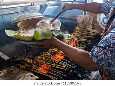 Cocking Satay Padang, a delicious culinary from Padang, West Sumatera, Indonesia.