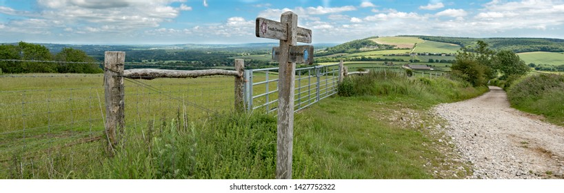 Cocking, West Sussex, UK, May, 17, 2019. The view towards Cocking and Midhurst from Cocking Down on the South Downs Way. The way is 160km long from Winchester in Hampshire to Eastbourne in East Sussex