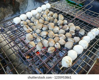 Cockle Grilled / Seafood of barbecue blood cockle cooking shellfish and meat ball on grill