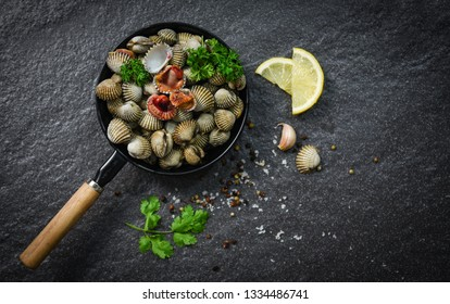 Cockles shellfish seafood plate with herbs and spices on dark background - blood cockle peeled on pan