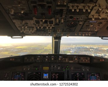 Cockpit aircraft pilot view - Shutterstock ID 1272524302