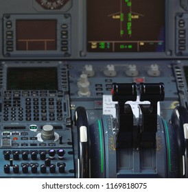 Cockpit of an airplane during a flight
