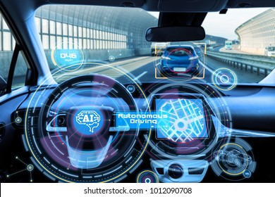 Cockpit of autonomous car and AI(Artificial Intelligence). Driverless car. Self driving vehicle. UGV.