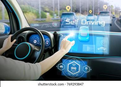 Cockpit of autonomous car. Driverless car. Self-driving vehicle. Head up display.