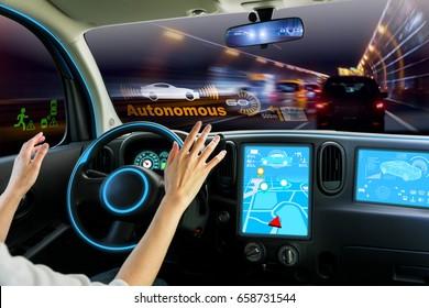 cockpit of autonomous car. self driving vehicle hands free driving.