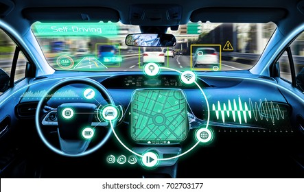 cockpit of autonomous car. self driving vehicle.