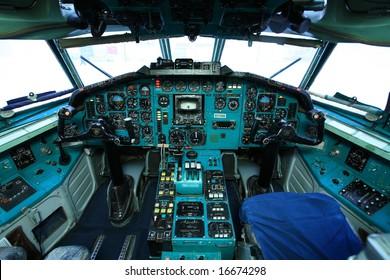 Cockpit of big old airplane