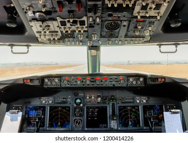 Cockpit of a Boeing 737-800 lined up on runway 07 at Lanseria International Airport.