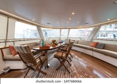Cockpit of a classic super yacht