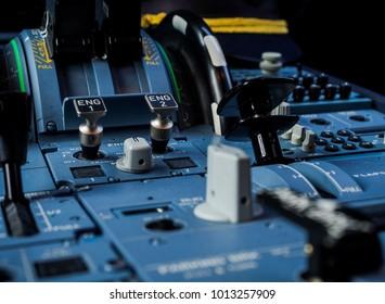 Cockpit Detail, Aircraft Throttle close up.