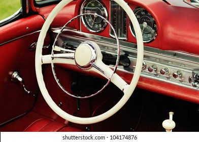 Cockpit detail of an old german sports car