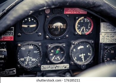 cockpit detail. Cockpit of a small aircraft