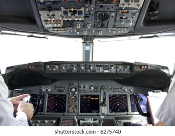 cockpit inside with pilots (the window is isolated)