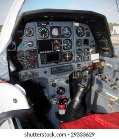 cockpit interior view of modern propeller airplane