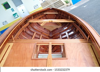 Cockpit of a newly built small classic wooden racing boat.
