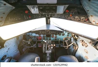 Cockpit of old aircraft Douglas DC-3 Dakota also known as C47. Industrial Museum Rahmi M. Koc in Istanbul,2018.