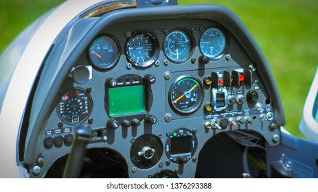 cockpit of small aircraft or airplane