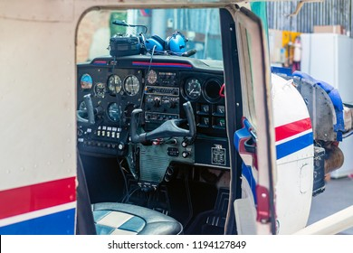 Cockpit of a small aircraft. Instrument panel of a small airplane