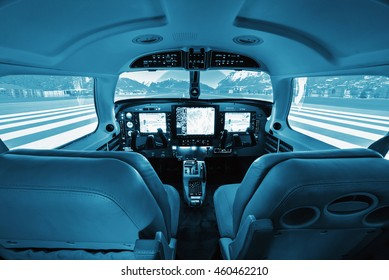 Cockpit small private aircraft, simulator. BLue colored.