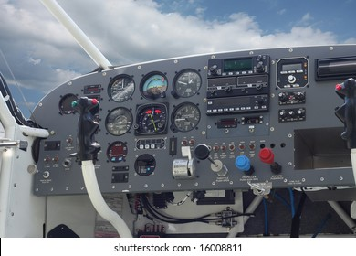 Cockpit of a Sport Plane with Blue Sky
