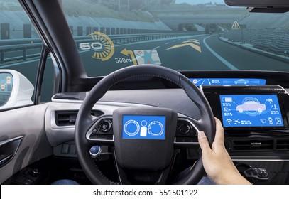 cockpit of vehicle, HUD(Head Up Display) and digital speedometer