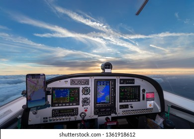 Cockpit view from a small aircraft in flight