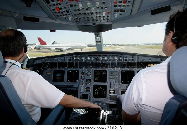 Cockpit view of taxiing aircraft