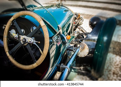 Cockpit of vintage sports car