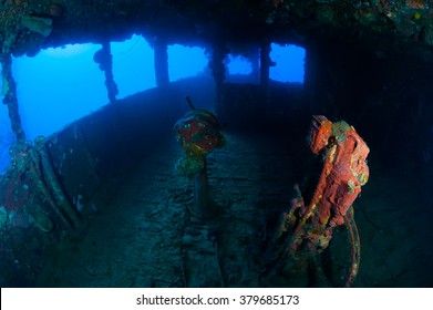 Cockpit of wreck ship in Truk Lagoon Micronesia.