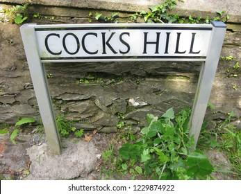 Cocks, Cornwall. England. May 23, 2009. Cocks hill sign.
