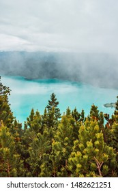 Cocks of fir and spruce tree with turquoise lake and mountains background. Forest in Bavarian alps, Germany. Foggy morning landscape.