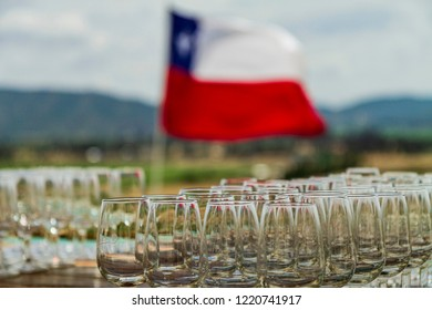 cocktail arrangements with a chilean flag in its background