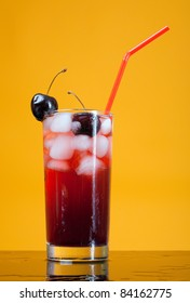 cocktail  with cherry closeup isolated white background.