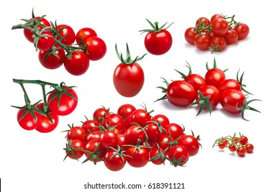 Cocktail, cherry, grape small tomatoes known as ciliegini, pachino. Clipping paths for each object, shadows separated