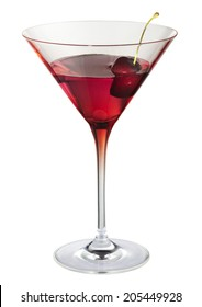 Cocktail with cherry red cocktail glass