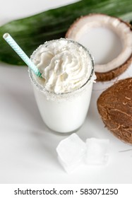 cocktail with coconut on white background
