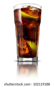 Cocktail with cola and limes isolated on white background
