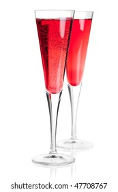 Cocktail collection - Kir royal with champagne. Isolated on white background