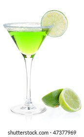Cocktail collection - Mint alcohol cocktail with lime slice. Isolated on white background