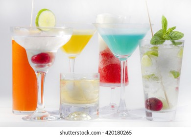 cocktail collection on white background