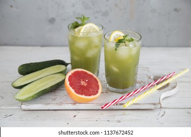 Cocktail of cucumber and grapefruit