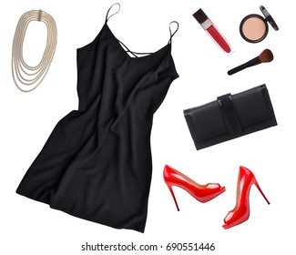 Cocktail dress outfit, night out look on white background. Little black dress, black clutch, red shoes, necklace, accessories. Flat lay, top view