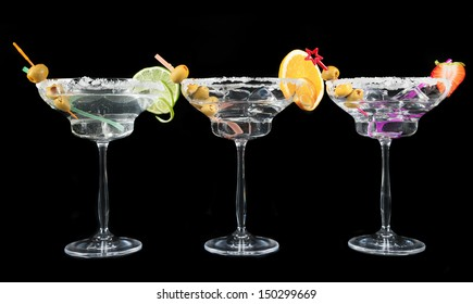 Cocktail drinks isolated on black background