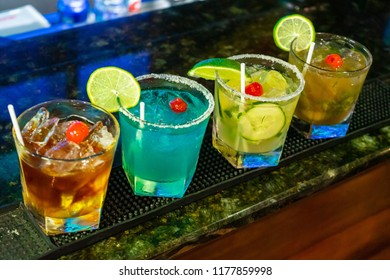 Cocktail drinks on a bar table,