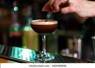Cocktail espresso martini based on coffee, liqueur coffee and vodka