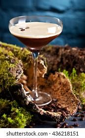 Cocktail Espresso Martini with Light Rum, Coffee Liquor, Espresso and Syrup