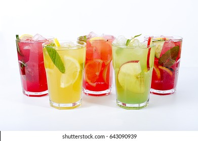Cocktail with fruits in glass Cup on white background