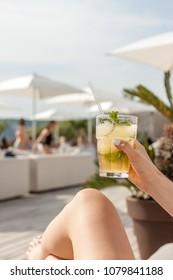 cocktail glass in beach club