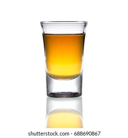 Cocktail Glass with brandy or whiskey - Small Shot. Isolated on white background