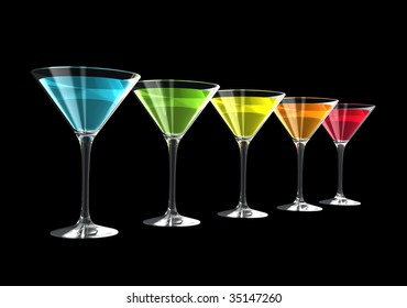 cocktail glasses isolated on a black background. three dimensional illustration